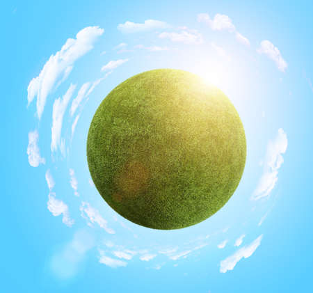 grass planet with clouds and sun photo