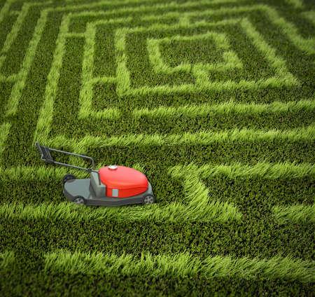 mow: lawnmower in maze garden Stock Photo