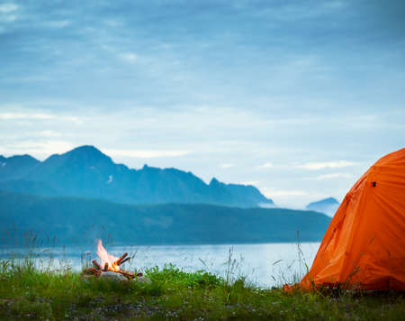 tourist tent in seaside camp Archivio Fotografico