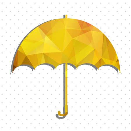 yellow umbrella: yellow umbrella polygon vector
