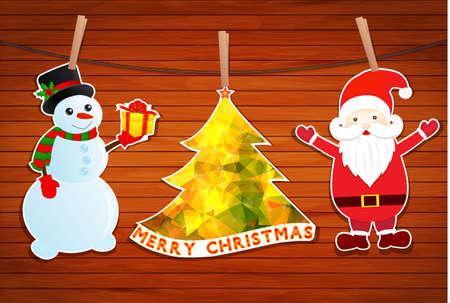 Christmas with Santa Claus and Snowman vector Vector