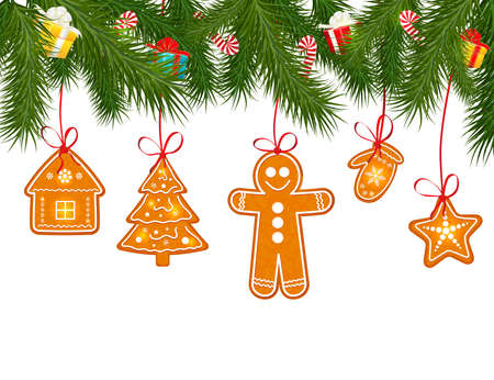 holiday cookies: Gingerbread cookies on Christmas tree vector