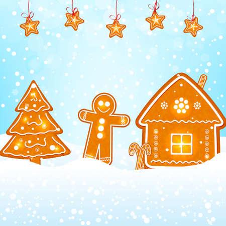 gingerbread cookies: gingerbread cookies on snow