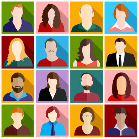 multi ethnic group: people icons Illustration