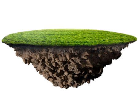 白い背景の上の緑の草の島 写真素材