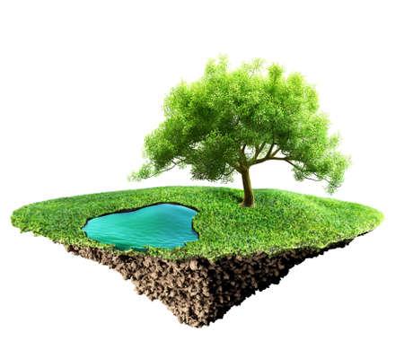 soil: grass island and soil Stock Photo