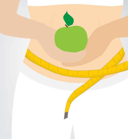 woman measuring: diet woman and green apple