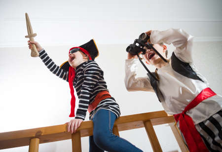 children play pirates Stock Photo