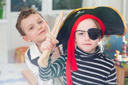 children play: children play pirates Stock Photo