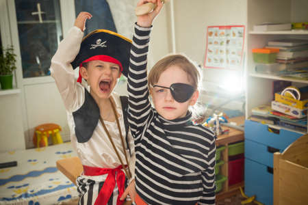 kids dress: children play pirates Stock Photo