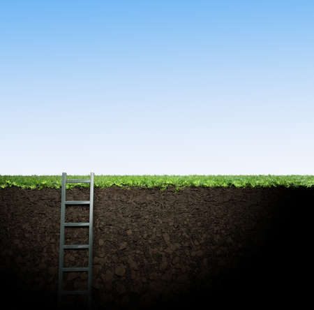 releasing: ladder from hole