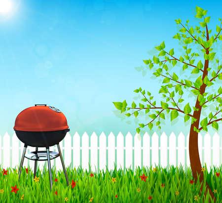 backyard: kettle barbecue grill on backyard