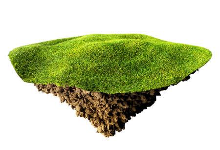 grass island on white background