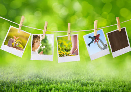 prints with family outdoors Stock Photo