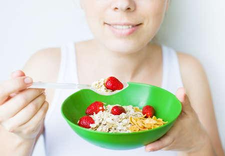 女性の健康的な食事 写真素材
