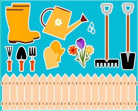ladder  fence: gardening tools Stock Photo