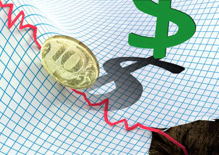 collapsed: russian ruble falling Stock Photo