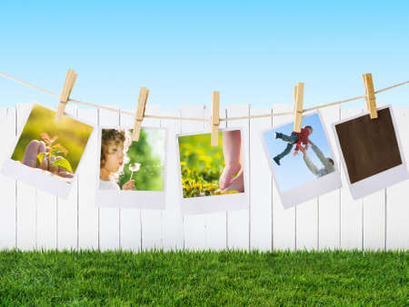 joy health: prints with family outdoors Stock Photo