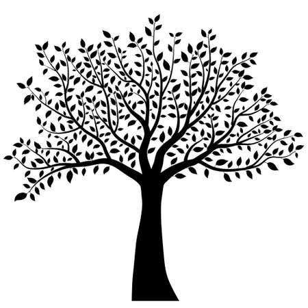 dessin noir et blanc: silhouette d'arbre Illustration