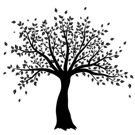 drawing trees: tree silhouette vector