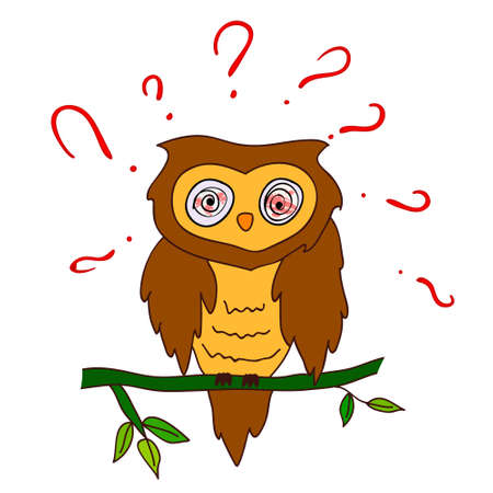 inquiry: confused owl with questions Illustration