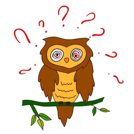suspicion: confused owl with questions Illustration