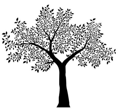 tree with leaves vector Vettoriali