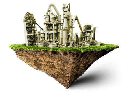 save environment: green factory 3D illustration