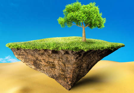 grass land: oasis 3D illustration
