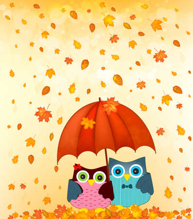 lovely couple: couple under umbrella at autumn