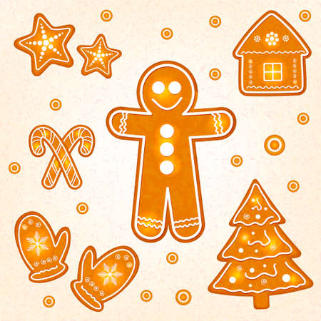 gingerbread cookies: Gingerbread cookies on Christmas Illustration