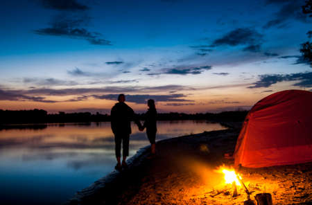 couple tent camping