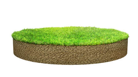 grass land: ground island with grass isolated Stock Photo