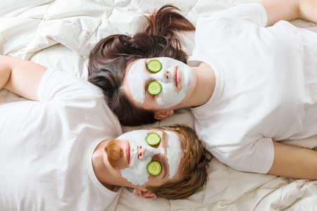 facial: Couple getting homemade facial mask