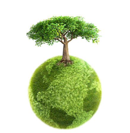 green world: green tree and Earth 3D rendering