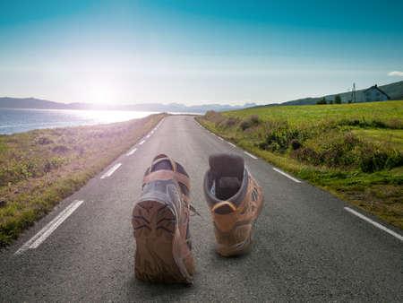 piesze wycieczki buty Zdjęcie Seryjne