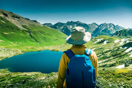 mountaineer: hiking in mountains Stock Photo