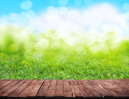 wooden floor and grass background