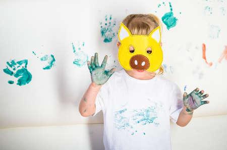 messy kid painting
