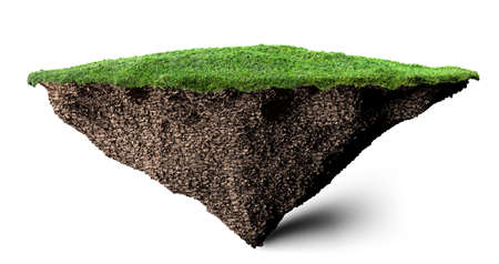 floating: soil and grass island 3D illustration Stock Photo