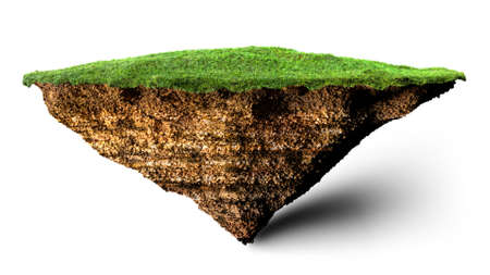 soil and grass island 3D illustration Stock Photo