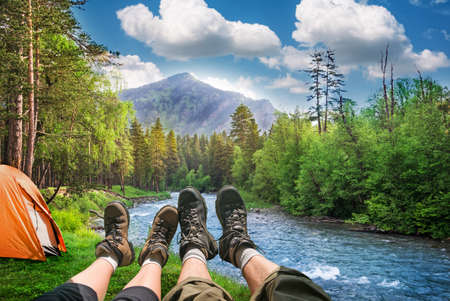 hiking and camping in mountains Stock Photo