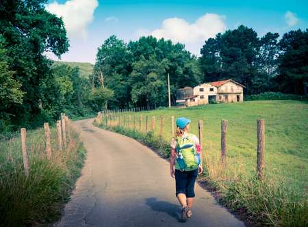 pilgrim journey: pilgrimage at Camino de Santiago  Stock Photo