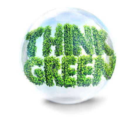 recycling symbols: thinhk green concept 3D illustration