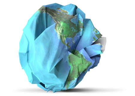 Paper earth recycle and sustainability concept 3D illustration.  Elements of this image furnished by NASA.  Stock Photo