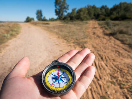hiking with compass