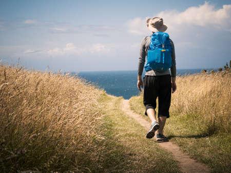 man walking on Camino de Santiago 스톡 콘텐츠
