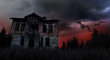 Schlechtes Wetter und gruselige Geisterhaus