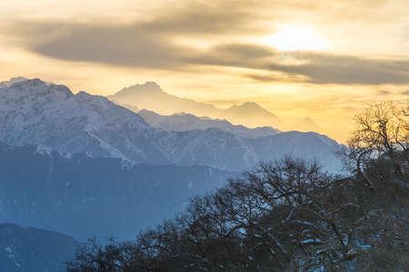 안나 푸르나 범위 풍경, 네팔 스톡 콘텐츠