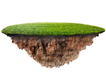 green grass island on white background